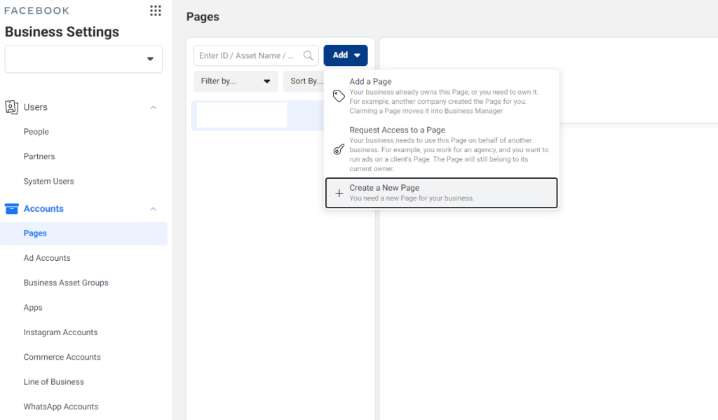 Add your Facebook page to Facebook Business Manager