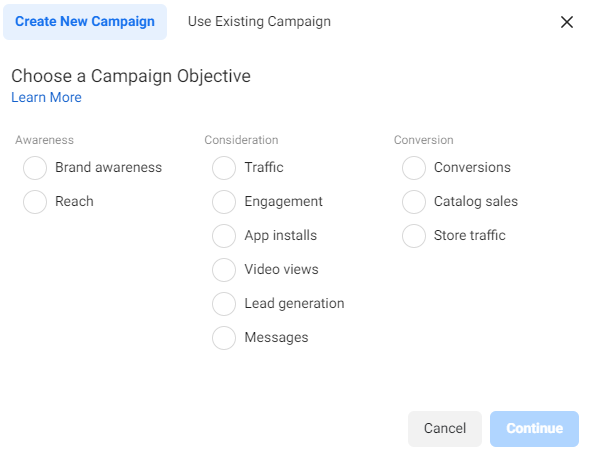 Instagram and Facebook Campaign Objectives