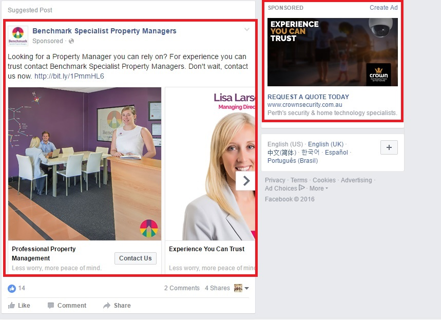 example of Facebook display ads
