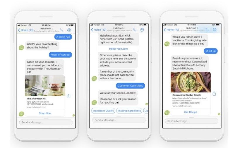 Chatbot example food delivery
