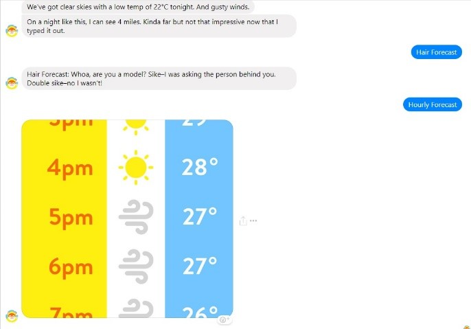 Chatbot example weather