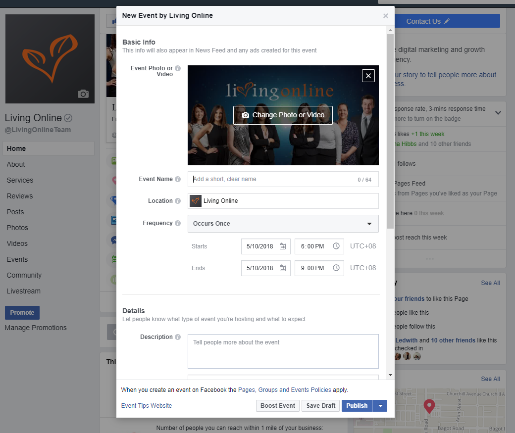 Facebook create events