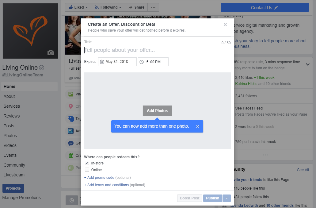 Create an offer in Facebook