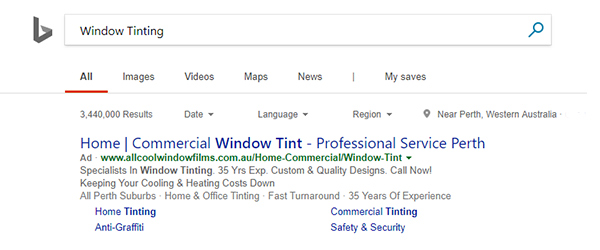 Bing Ads search example