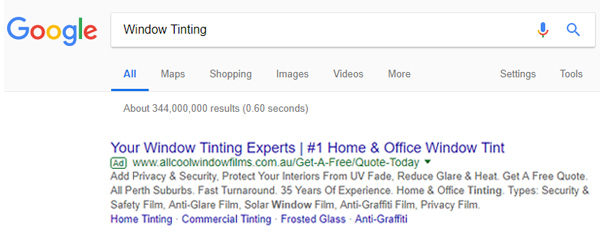 Google AdWords search ad example