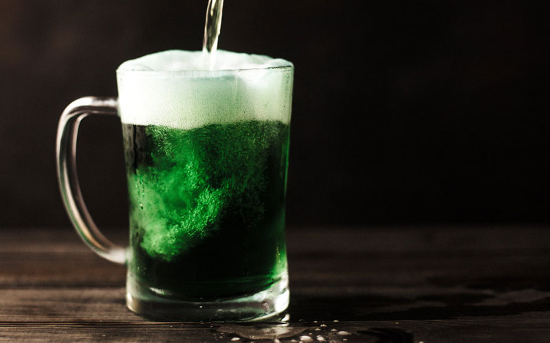 green beer in a glass