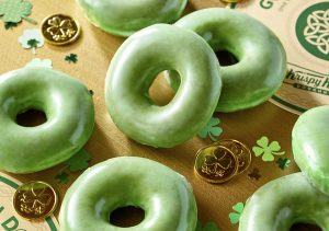 Green donuts on St Patrick's Day