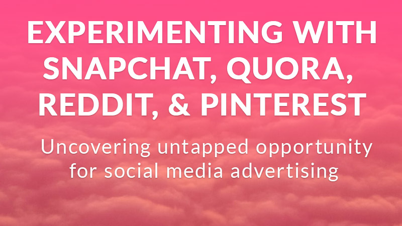 Experimenting with alternative social media advertising