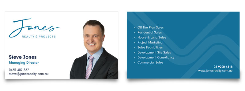 Jones Realty & Projects business cards